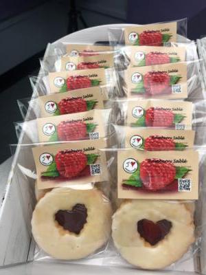Raspberry Sablé (2 shortbread cookies with raspberry jam in between)