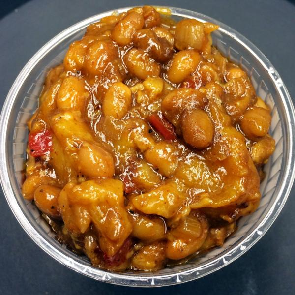 Peach Bourbon Baked Beans