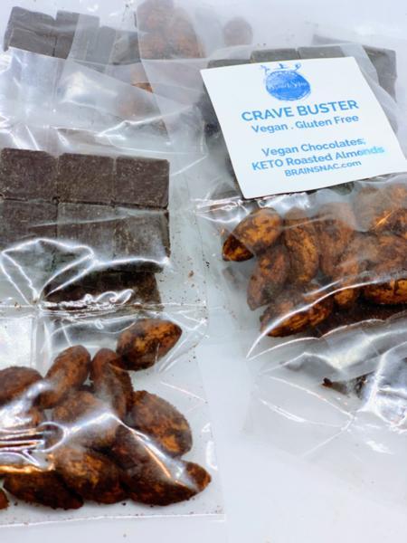 Keto Crave Buster - Keto Vegan Chocolate + KETO Cocoa Almonds - 1 pack