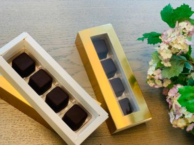 ALERT: NEW FOR MOTHER'S DAY!!! VEGAN Dark Couverture* Chocolate Truffles Filled with Ganache & Hazelnuts (Gift box of 4)