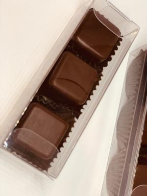 ALERT: NEW FOR MOTHER'S DAY!!! VEGAN Dark Couverture* Chocolate Truffles Filled with Ganache & Hazelnuts (Clear Box of 3)