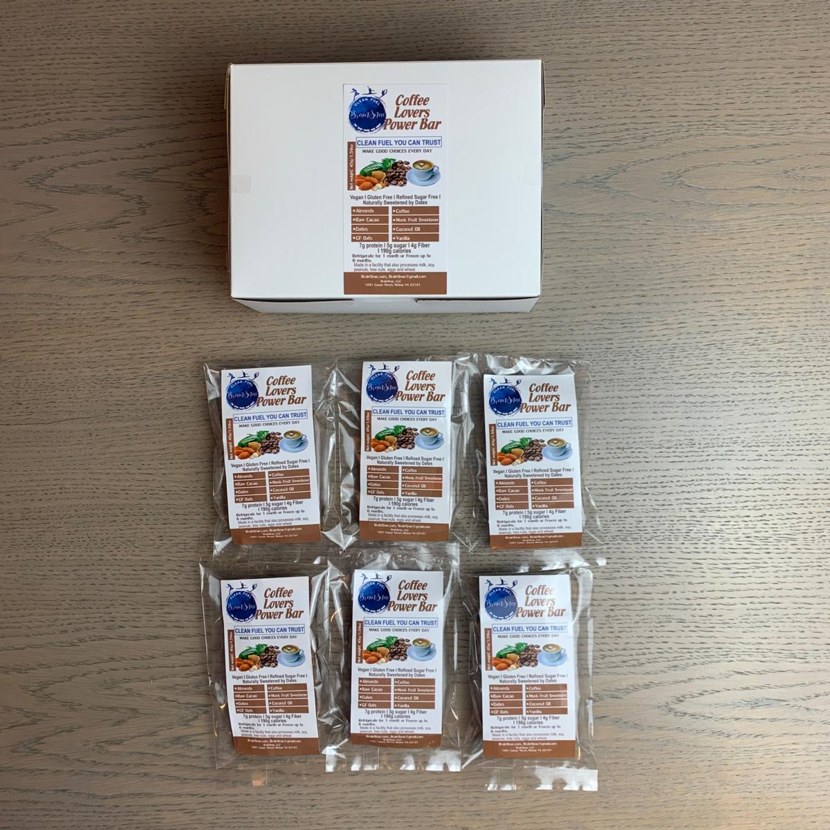 Protein Line (P2) - Vegan GF Clean Fuel Coffee Cacao Almond Power Squares - Grab and Go Box