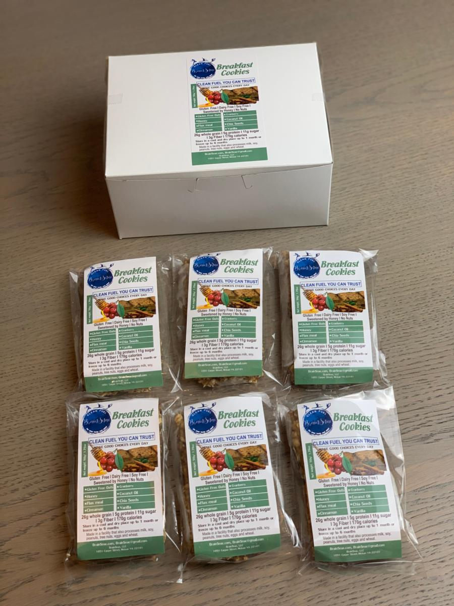 Breakfast/Power Snack Line (B2) - GF Superfood Breakfast Cookies - Grab and Go Box (6 packs of 12 cookies)