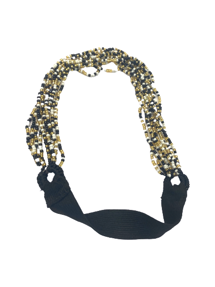 Hand Beaded Headband - Black, White & Gold Seed Beads