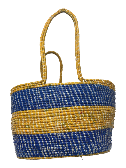 Blue & Gold Market Tote Basket with Handles
