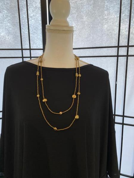 Clay and Seed Bead Necklace in Gold