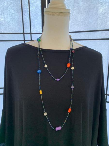 Clay and Seed Bead Necklace in Multicolor