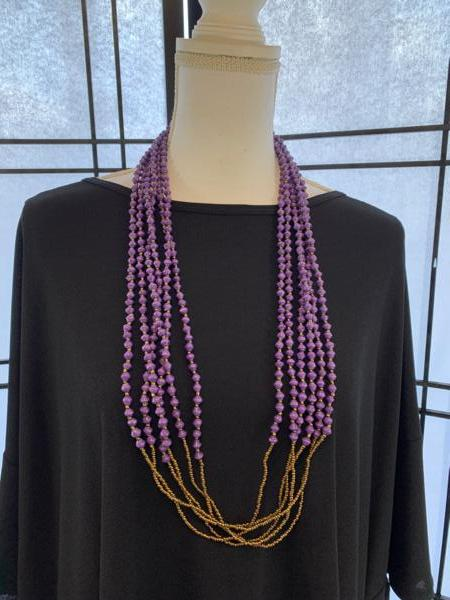 Handmade 6-strand Purple Paper Bead Necklace