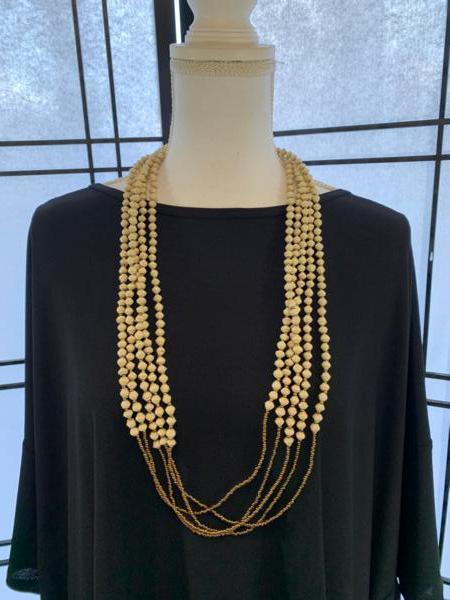 Handmade 6-strand Cream Paper Bead Necklace