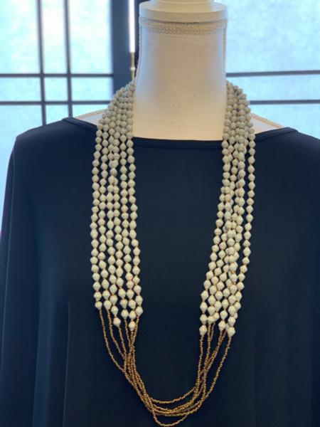 Handmade 6-strand Gray Paper Bead Necklace