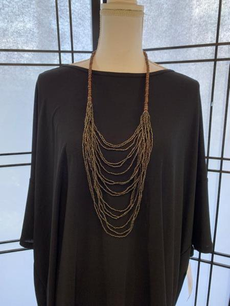 Handmade Black/Gold and Wood Ugandan Bead Necklace
