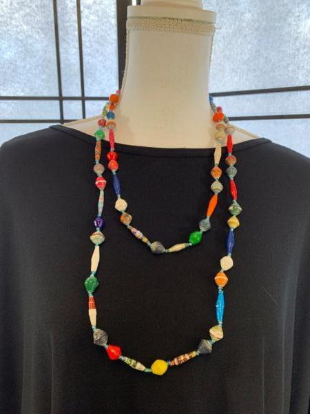 Handmade Multicolor Paper Bead Necklace