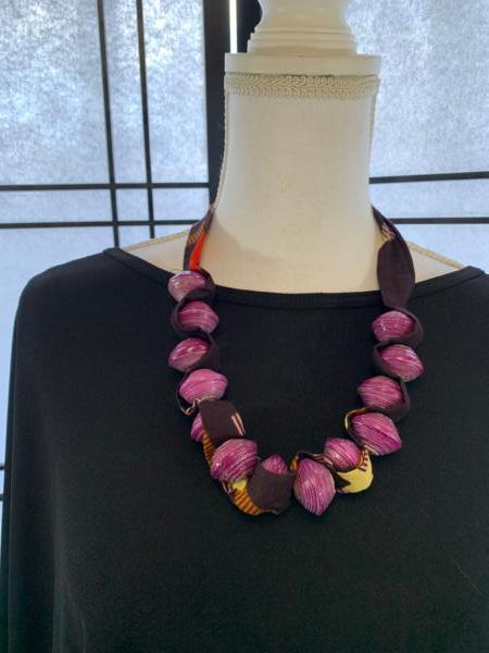 Large Paper Bead Necklace Woven with African Fabric