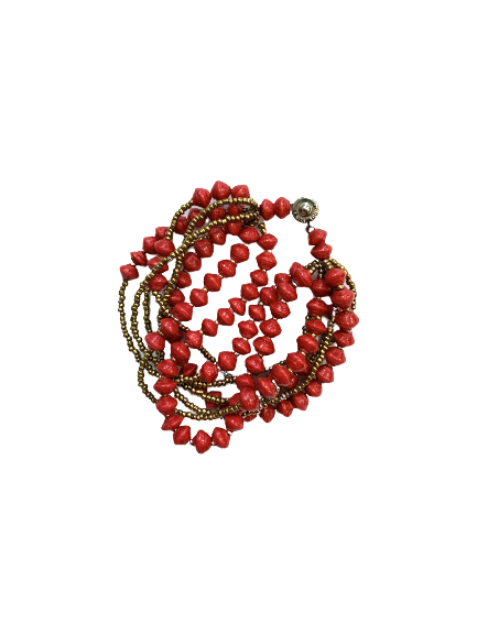 Handmade 8-strand Ugandan Paper Bead Bracelet Red