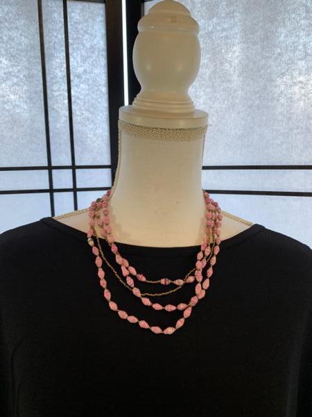 Handmade Pink Ugandan Paper & Seed Bead Necklace