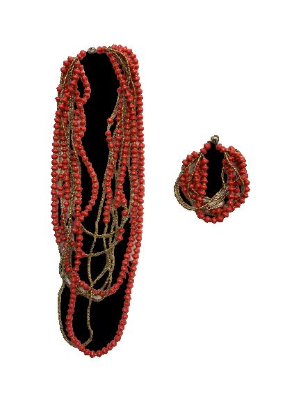 Handmade 8-strand Ugandan Paper Bead Bracelet and Necklace Set Red