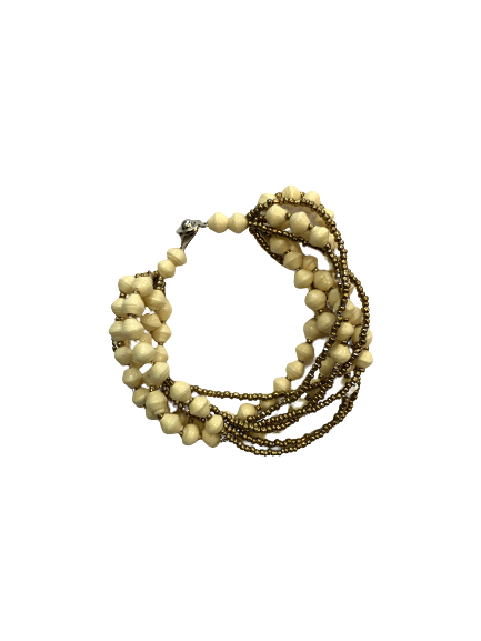 Handmade 8-strand Ugandan Paper Bead Bracelet Cream
