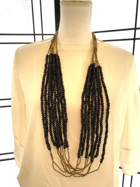 Handmade Black Ugandan Paper Bead Necklace