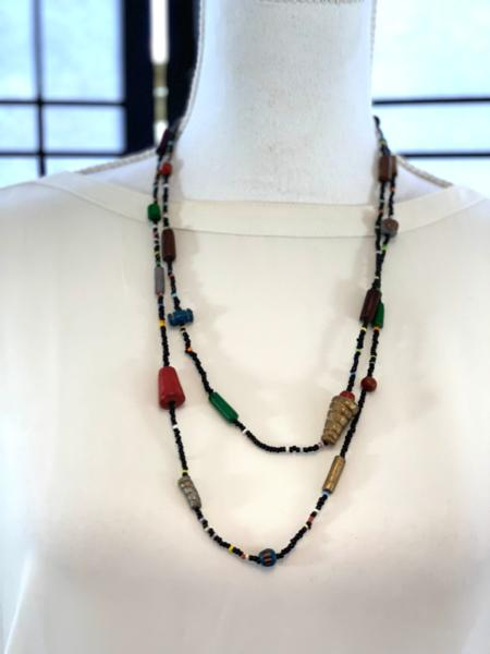 Handmade Multicolor Clay and Seed Bead Necklace