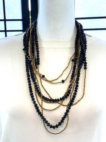 Handmade Black and Gold Ugandan Paper Bead Necklace