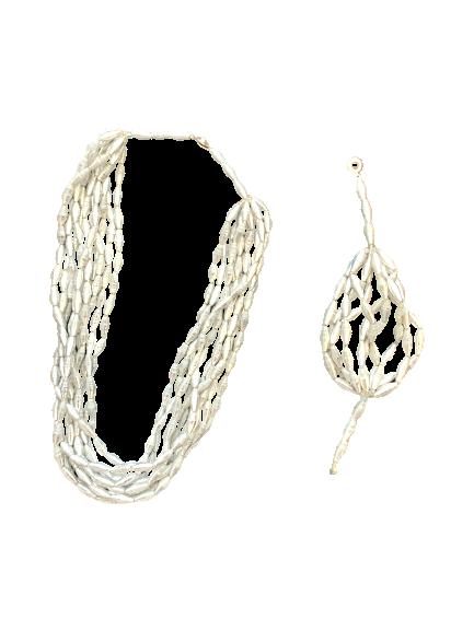 Handmade Silver Ugandan Paper Bead Necklace &Bracelet