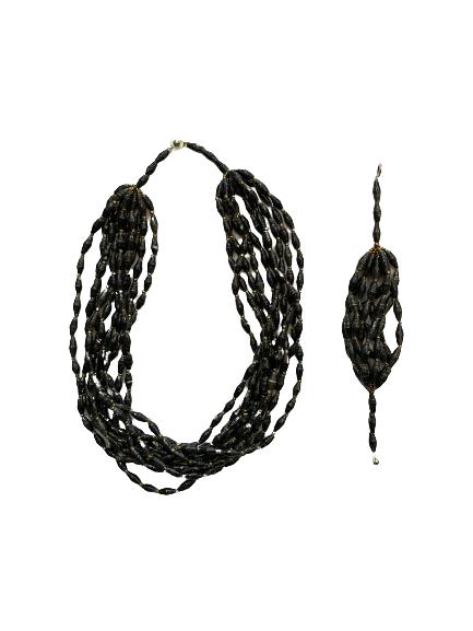 Handmade Black Ugandan Paper Bead Necklace & Bracelet