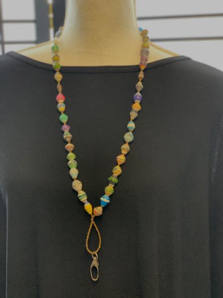 Handmade Multicolor Ugandan Paper Bead Lanyard
