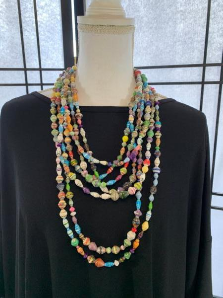 Handmade 7-strand Multicolor Ugandan Paper Bead Necklace
