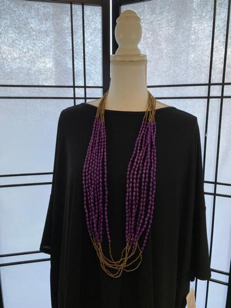 Handmade Purple Ugandan Paper and Seed Bead Necklace