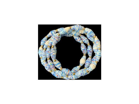 Handmade Ugandan Paper Bead Wrap Bracelet Blue