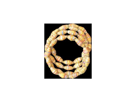 Handmade Ugandan Paper Bead Wrap Bracelet Tan
