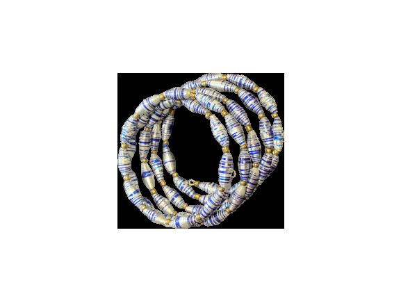 Handmade Ugandan Paper Bead Wrap Bracelet Silver and Blue