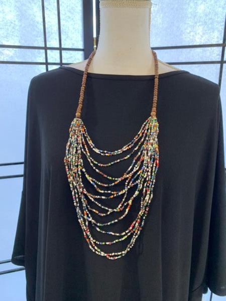 Handmade Multicolor and Wood Ugandan Bead Necklace