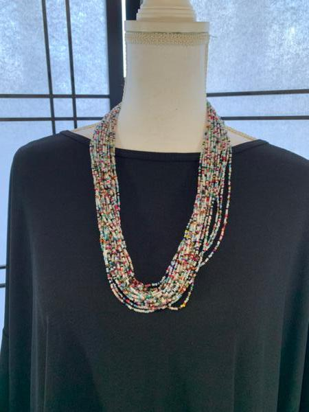 Handmade Ugandan Seed Bead Necklace Multicolor