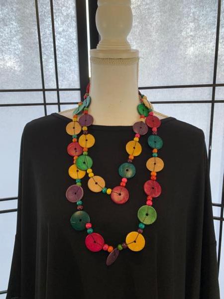 Handmade Ugandan Coconut Necklace Multicolor