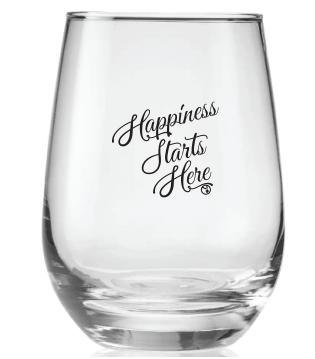 Happiness Starts Here Wine Glass