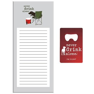 Magnetic Notepad with Bottle Opener - Never Drink Alone Camper