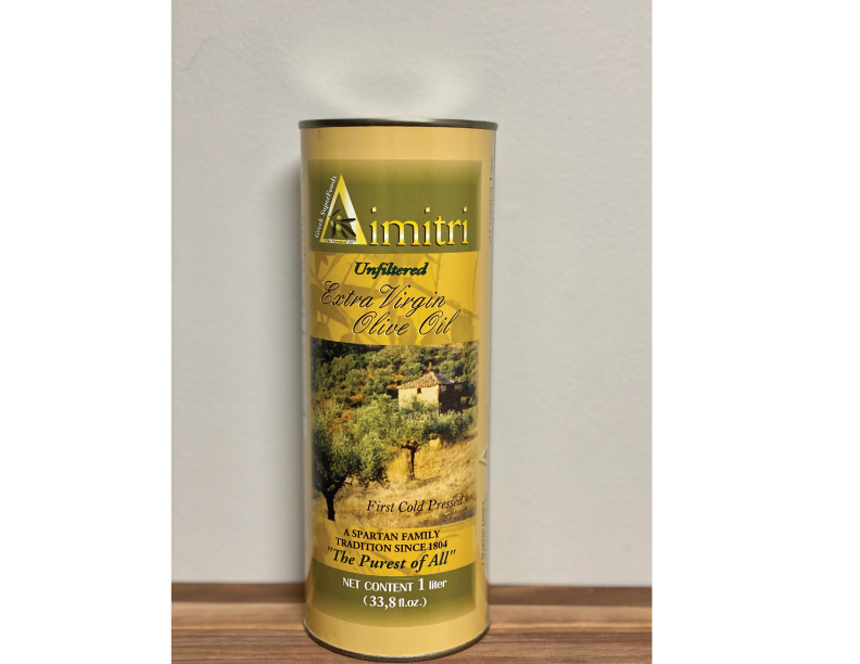 Unfiltered First Cold Pressed Extra Virgin Olive Oil, 1 Liter Can