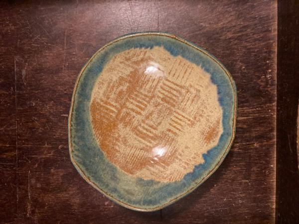 Turquoise Rimmed Dish w/Texture