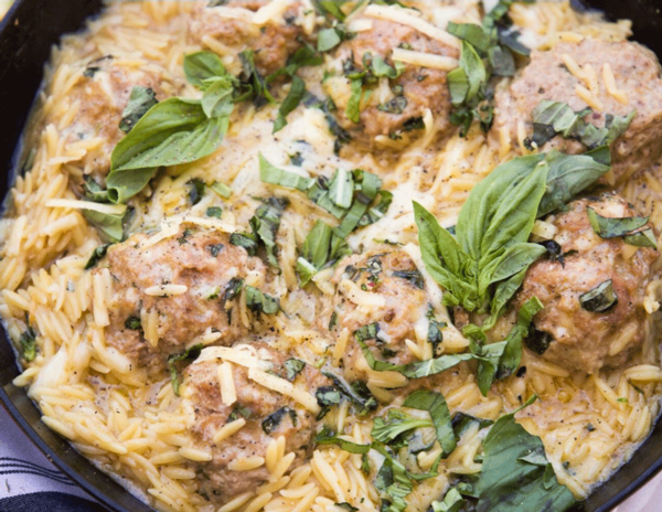 Spanish-style Meatballs in a Tomato & Almond-based Sauce with Orzo Pasta