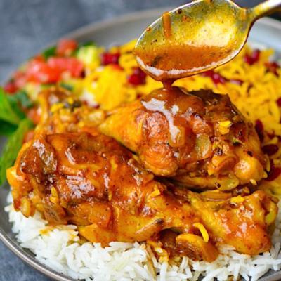 Persian Saffron Chicken and Basmati Rice with Raisins