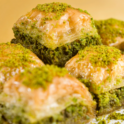 Baklava: Traditional Pistachio and Walnut Available (3 pieces)