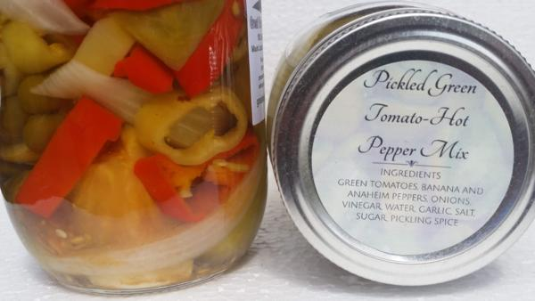 Pickled Green Tomatoes Hot Pepper Mix (16 oz.)
